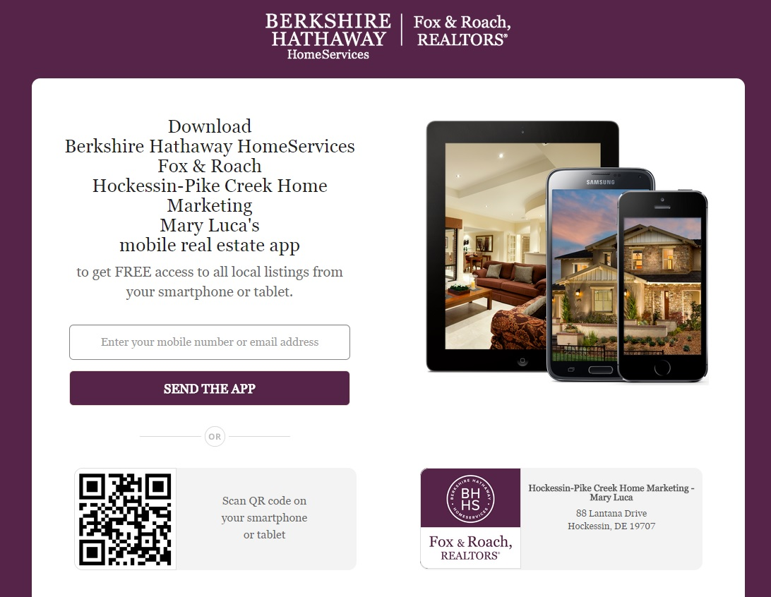 John & Mary Luca Berkshire Hathaway HomeServices Fox & Roach Realtors Smarter Agent Mobile Search App for Real Estate GPS Enabled QR Code Download FREE